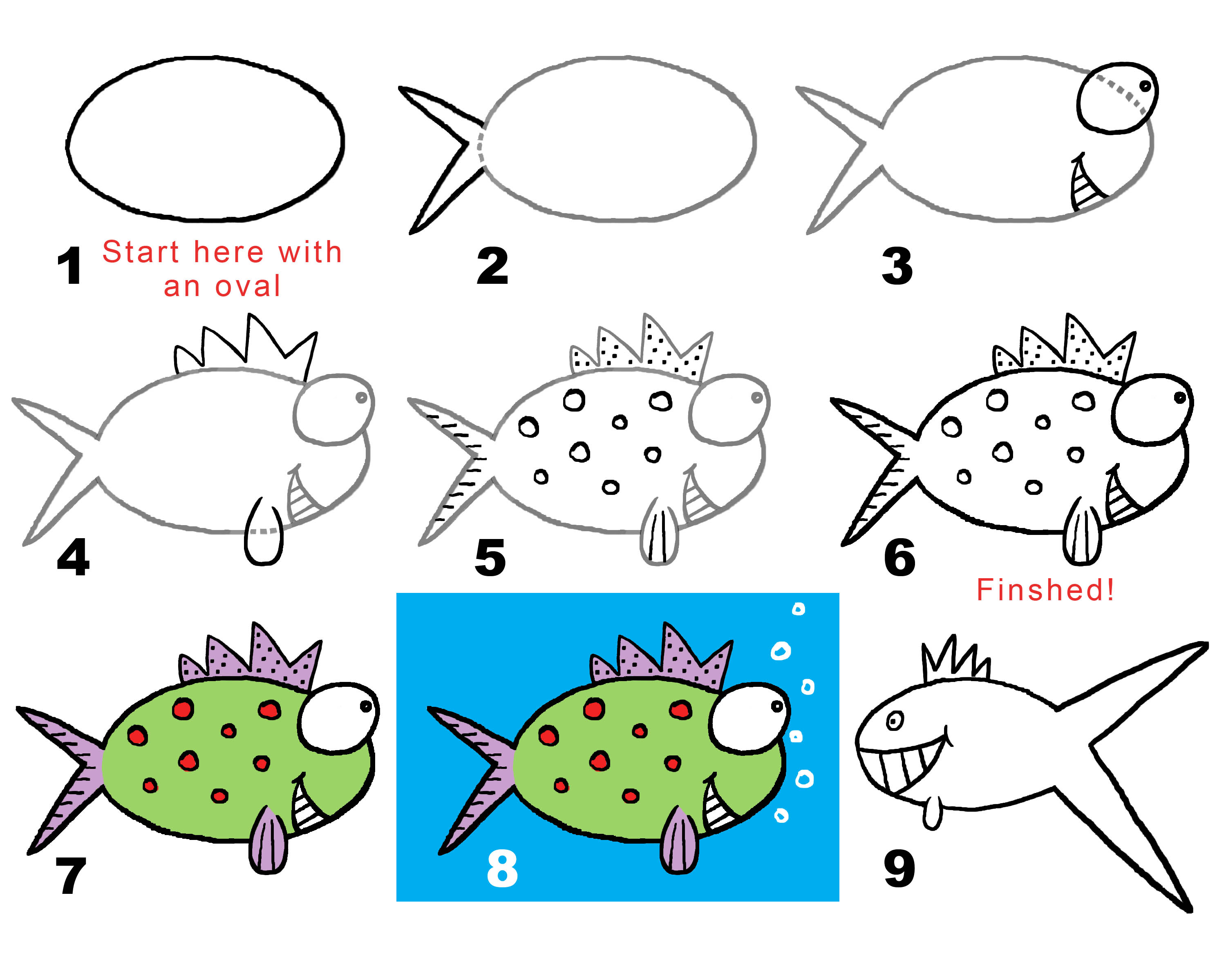 Fishy fishy draw your own conclusions draw with rich for How to draw a fish