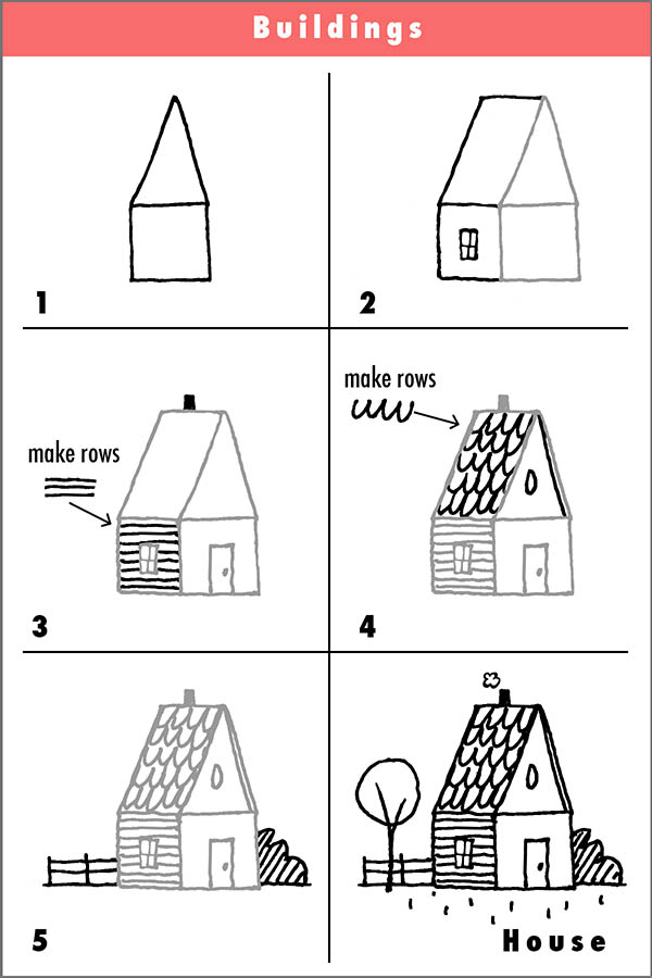 Cartoon drawing tips draw with rich page 2 for How to draw a two story house step by step