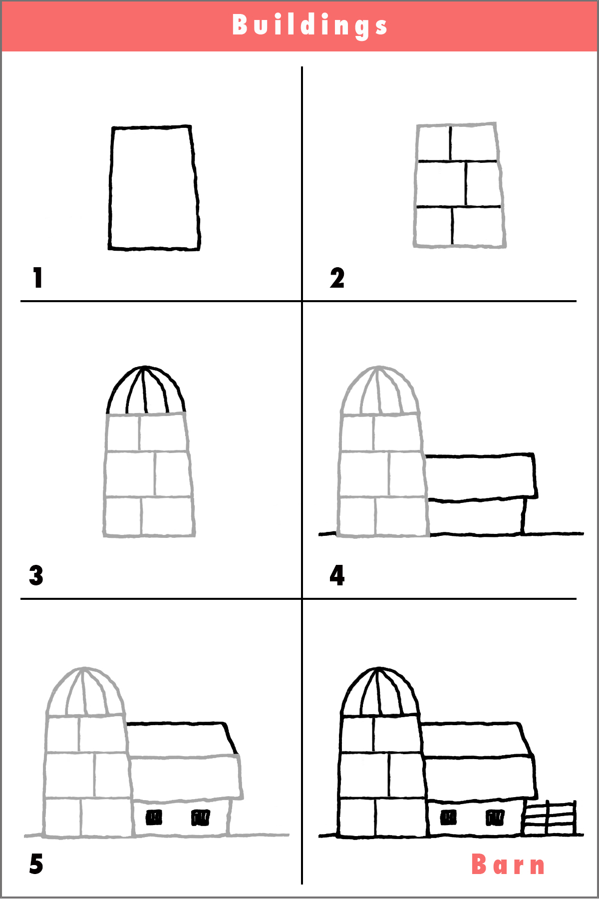Cartoon barn draw simple whimsical sketch pencil fun Step by step to build a house
