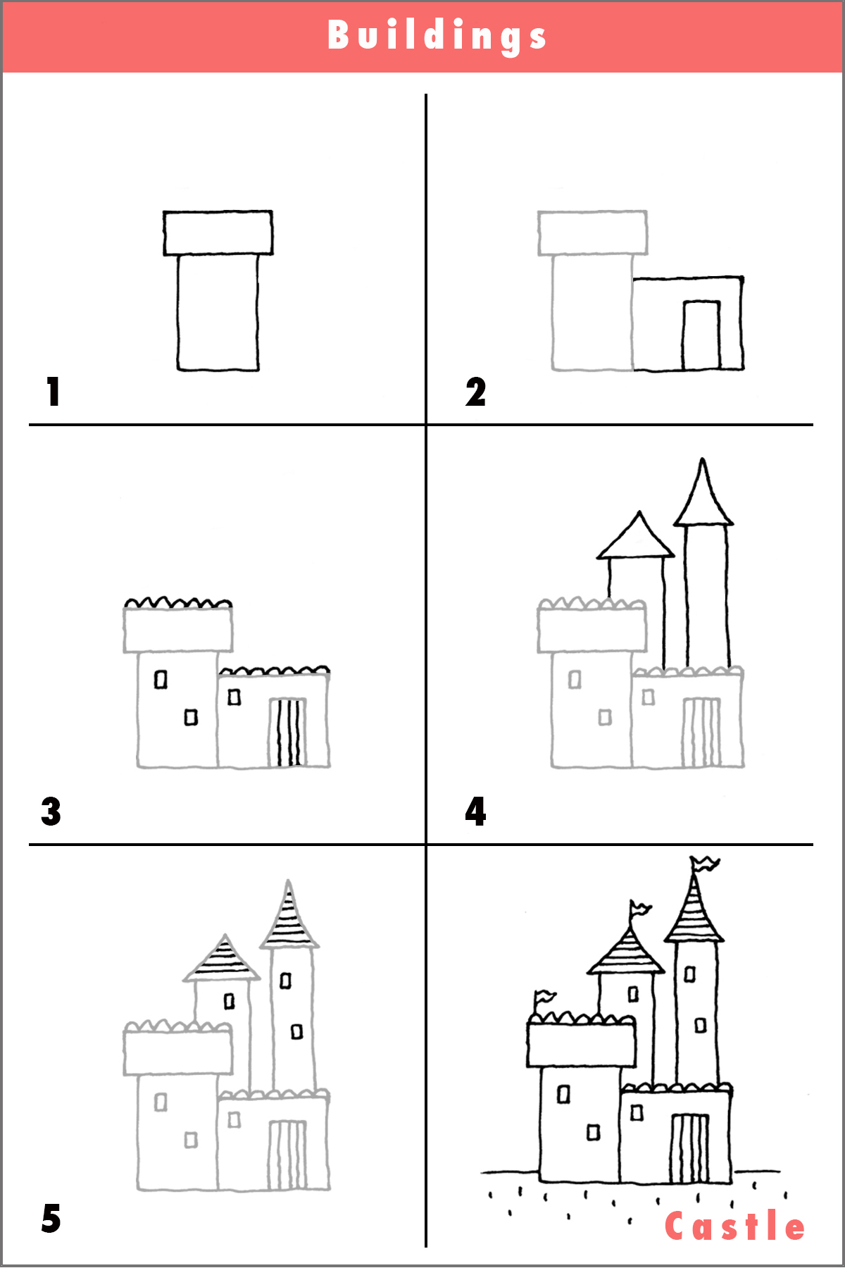 Castledrawdrawingpencilsketchquickstep By Step Cartoon Fun