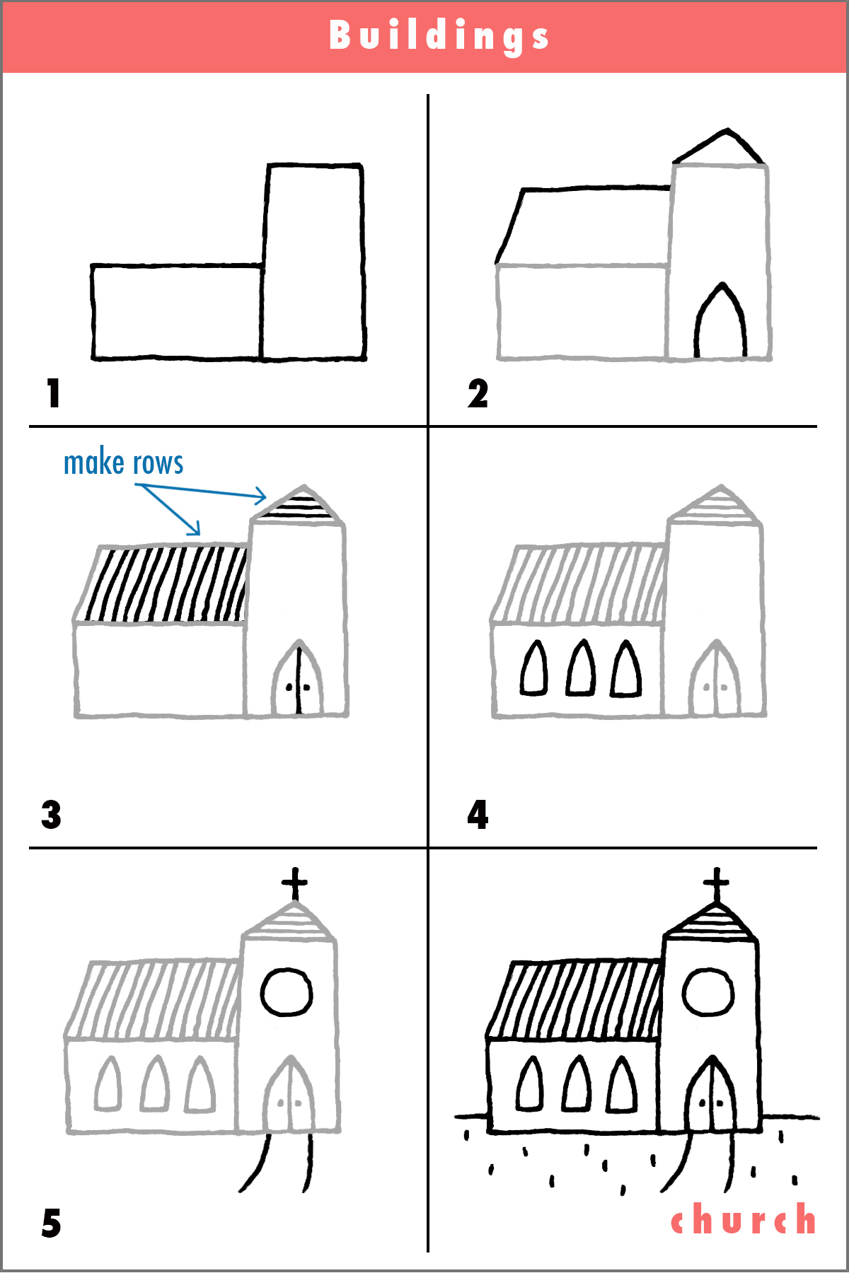 Church draw step by step cartoon pencil fun simple shapes for How to build a house step by step