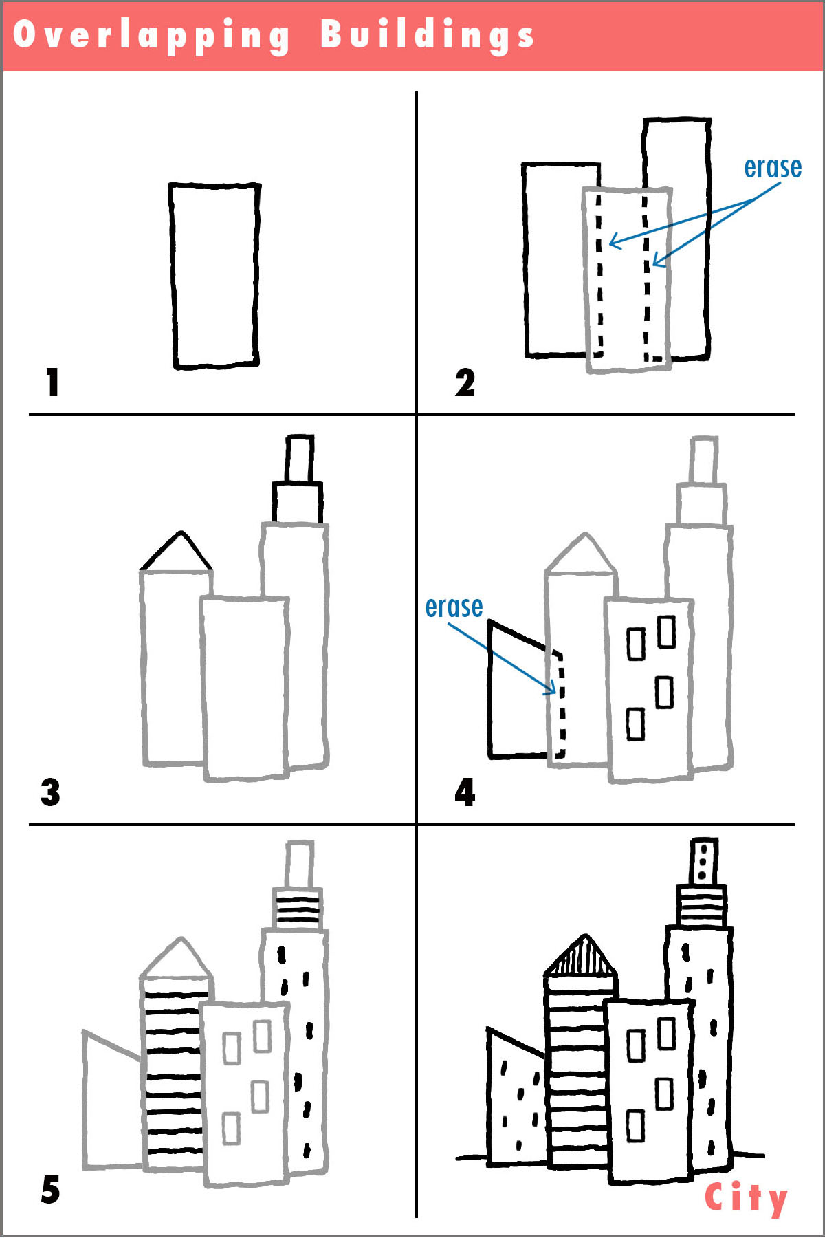 Draw drawing simple city overlapping pencil fun activity Step by step to build a house